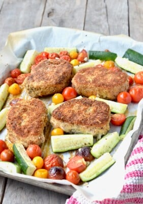 Sheet Pan Breaded Pork and Veggies on 100 Days of Real Food