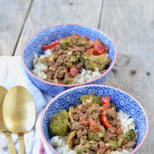 Quick Korean Ground Beef and Veggie Rice Bowls on 100 Days of Real Food